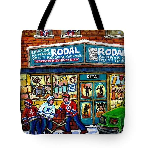 Fiddler On The Roof Painting Canadian Art Jewish Montreal Memories Rodal Gift Shop Van Horne Hockey  Tote Bag