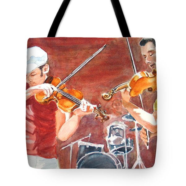 Tote Bag featuring the painting Fiddles by Karen Ilari