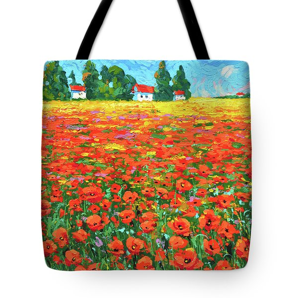 Field And Poppies Landscape Tote Bag