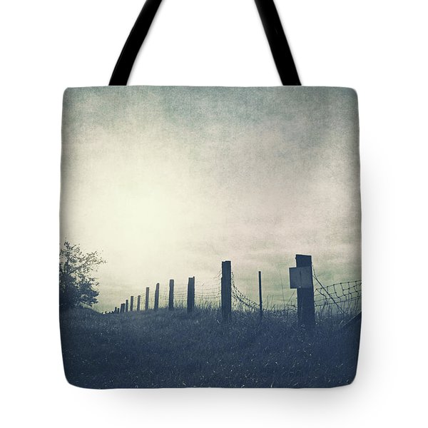 Field Beyond The Fence Tote Bag