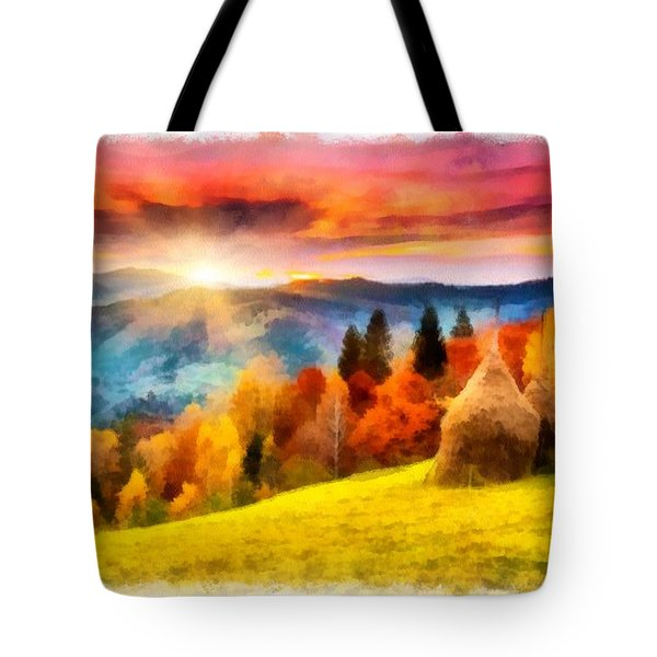 Field Of Autumn Haze Painting Tote Bag