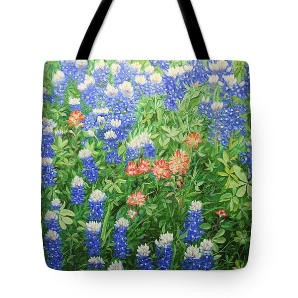 Tote Bag featuring the painting Field Of Blue by Mike Ivey