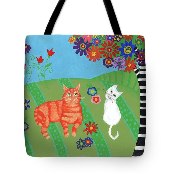Field Of Cats And Dreams Tote Bag