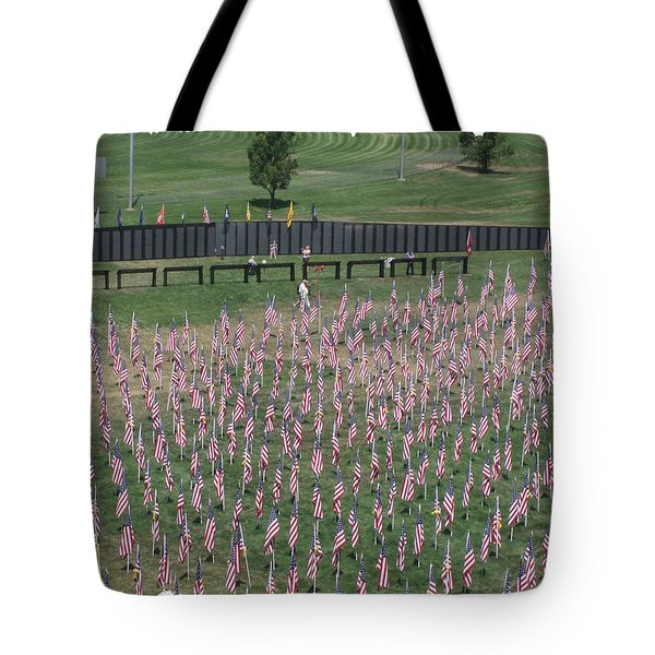 Field Of Flags - Gotg Arial Tote Bag by Gary Baird