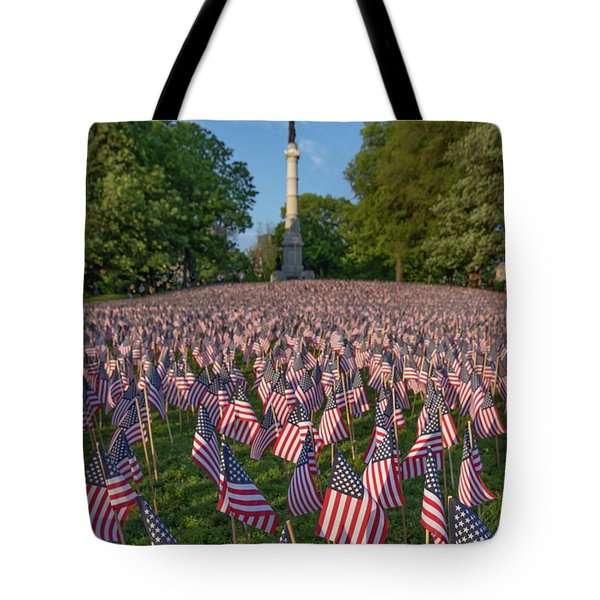 Field Of Flags At Boston's Soldiers And Sailors Monument Tote Bag