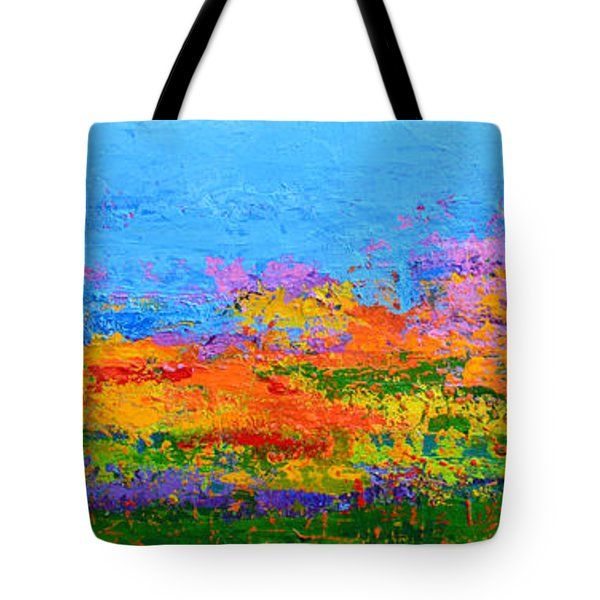 Abstract Field Of Wildflowers, Modern Art Palette Knife Tote Bag