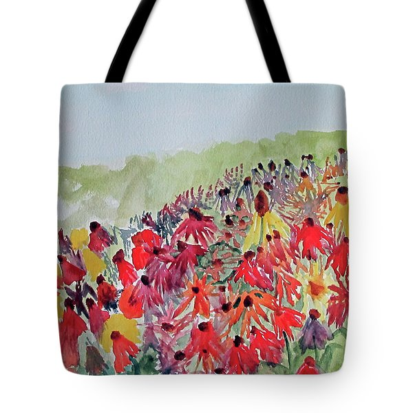 Tote Bag featuring the painting Field Of Flowers by Sandy McIntire