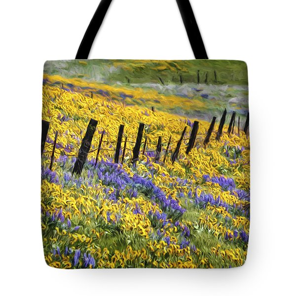 Field Of Gold And Purple Tote Bag