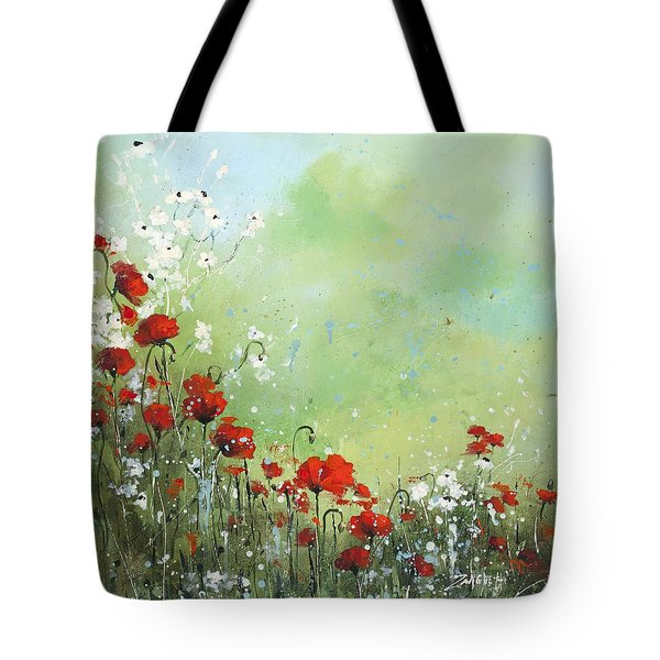 Tote Bag featuring the painting Field Of Imagination by Laura Lee Zanghetti