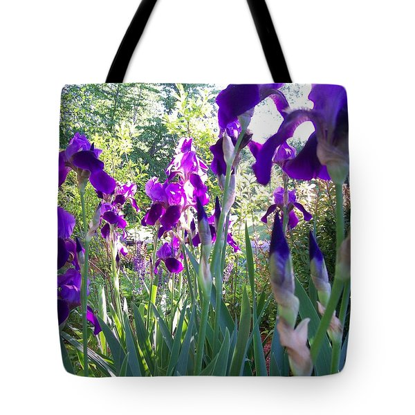 Tote Bag featuring the digital art Field Of Irises by Barbara S Nickerson