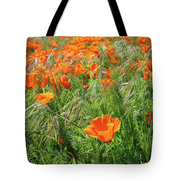 Tote Bag featuring the mixed media Field Of Orange Poppies- Art By Linda Woods by Linda Woods