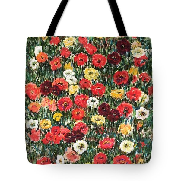 Tote Bag featuring the painting Field Of Puppies  by Laila Awad Jamaleldin