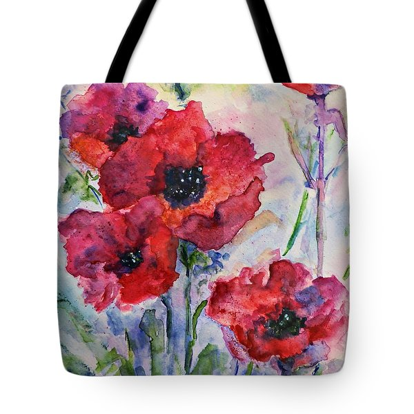 Tote Bag featuring the painting Field Of Red Poppies Watercolor by AmaS Art