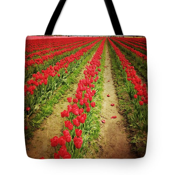 Field Of Red Tulips With Drama Tote Bag