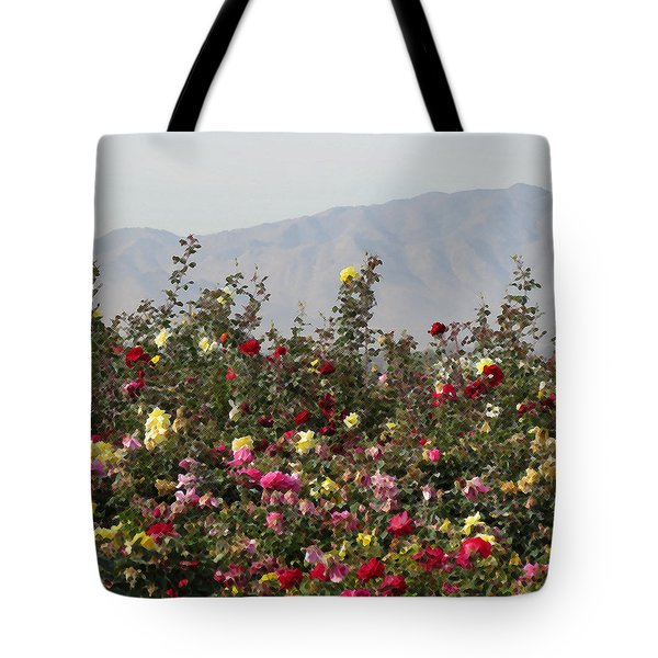 Tote Bag featuring the photograph Field Of Roses by Laurel Powell