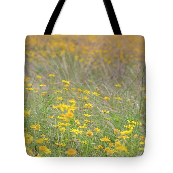 Field Of Yellow Flowers In A Sunny Spring Day Tote Bag