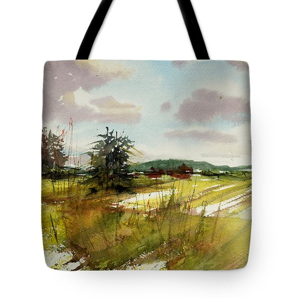 Field On The Lane Tote Bag by Judith Levins