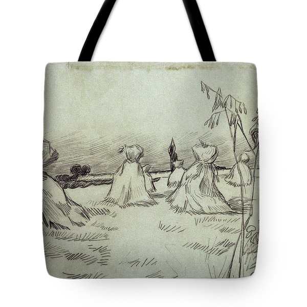 Field With Sheaves Of Wheat, 1890 Tote Bag