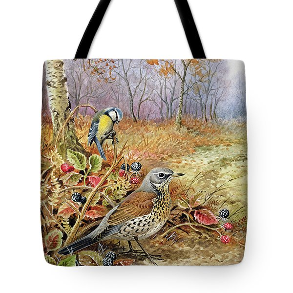 Fieldfare And Blue Tit Tote Bag