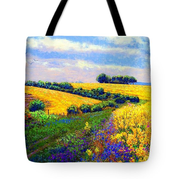 Tote Bag featuring the painting Fields Of Gold by Jane Small