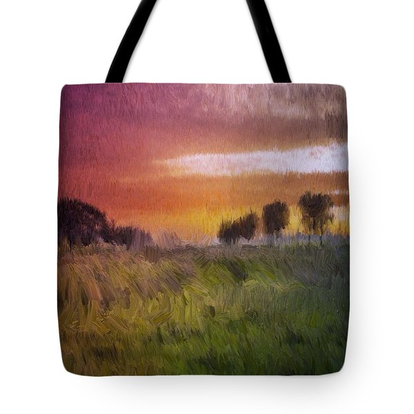 Tote Bag featuring the painting Fields Of Green by Mark Taylor