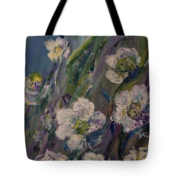 Tote Bag featuring the painting Fields Of White Flowers by AmaS Art