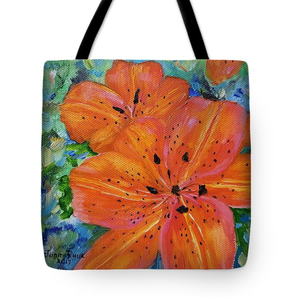 Tote Bag featuring the painting Fierce Tiger by Judith Rhue