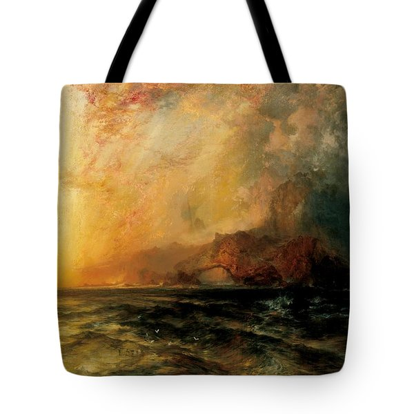 Fiercely The Red Sun  Tote Bag by Thomas Moran