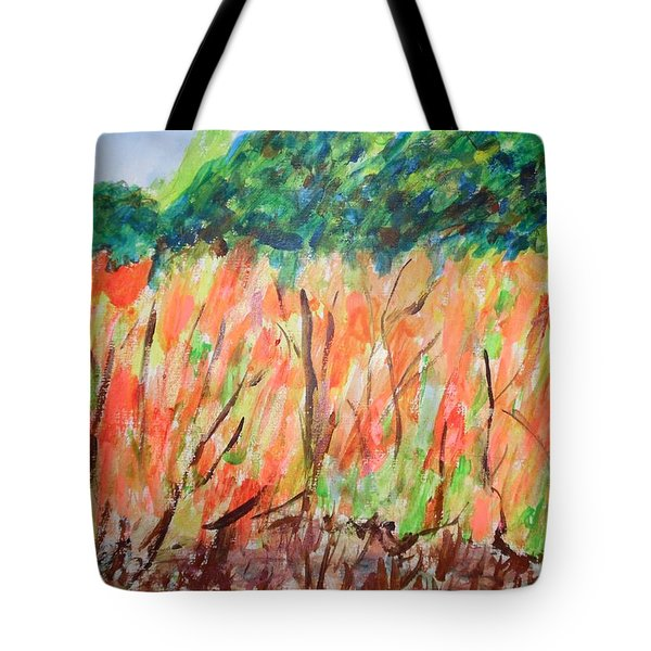Tote Bag featuring the painting Fiery Bushes by Esther Newman-Cohen