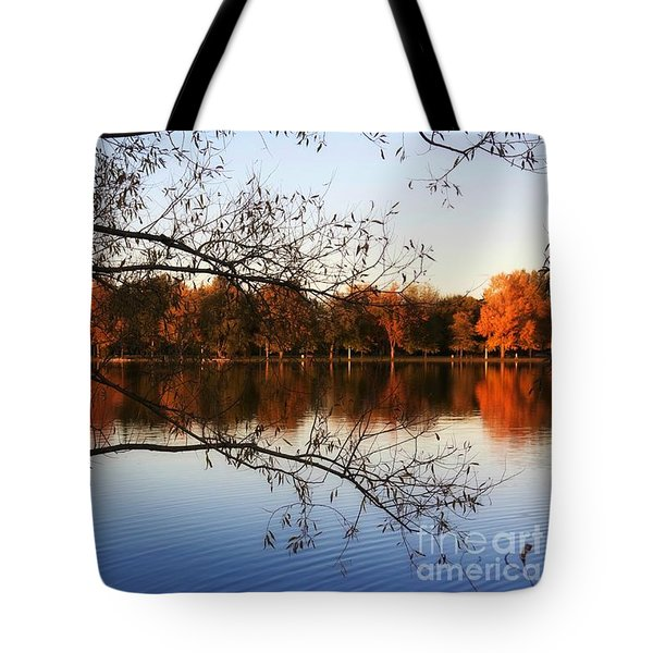 Fiery Colors On The Lake Tote Bag