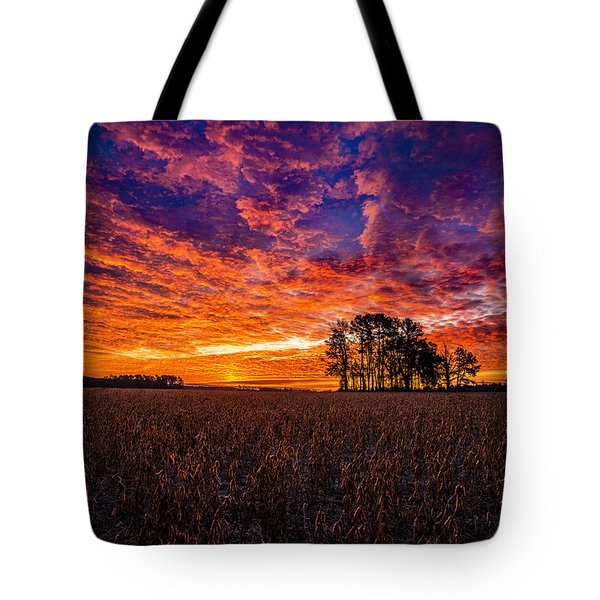 Fiery Dawn At Center Grove Tote Bag