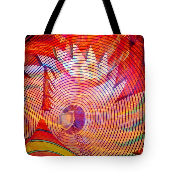 Tote Bag featuring the photograph Fiery Ferris Wheel by David Lee Thompson