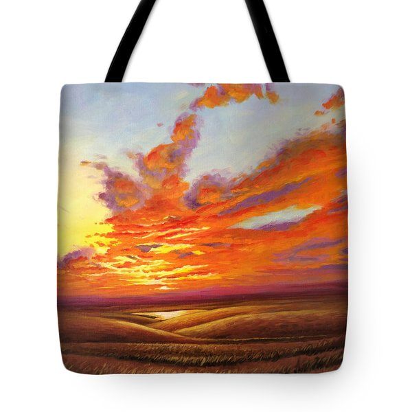 Fiery Flint Hills Sky Tote Bag by Rod Seel