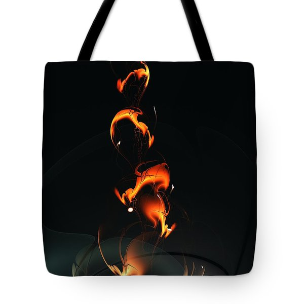 Tote Bag featuring the digital art Fiery Flower by Anastasiya Malakhova