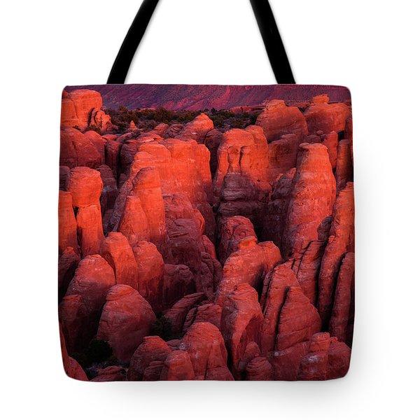Fiery Furnace Tote Bag by Dustin LeFevre