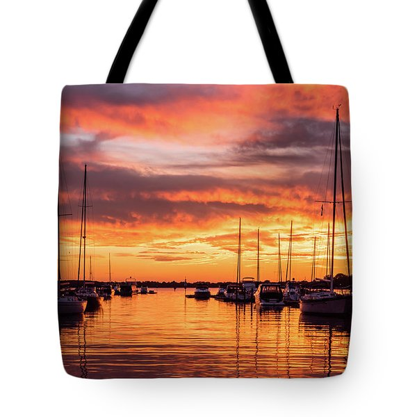 Fiery Lake Norman Sunset Tote Bag