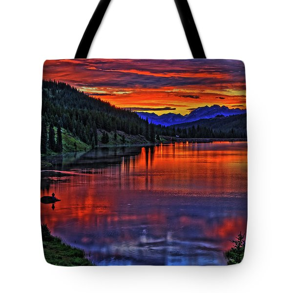 Tote Bag featuring the photograph Fiery Lake by Scott Mahon