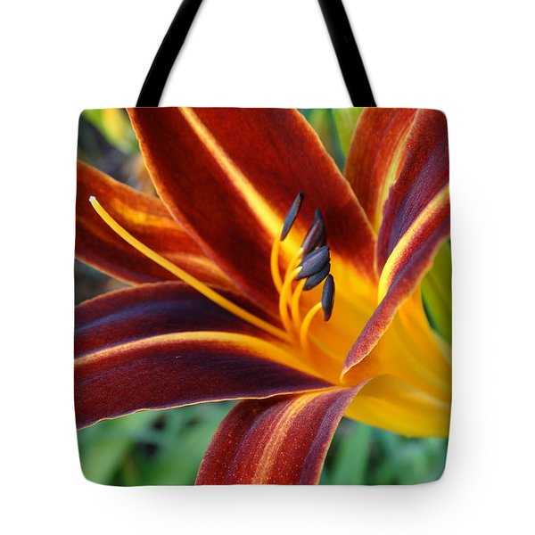 Fiery Lilies In Bloom Tote Bag by Rebecca Overton