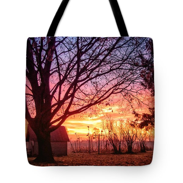 Tote Bag featuring the photograph Fiery Morning Sunrise by Lars Lentz