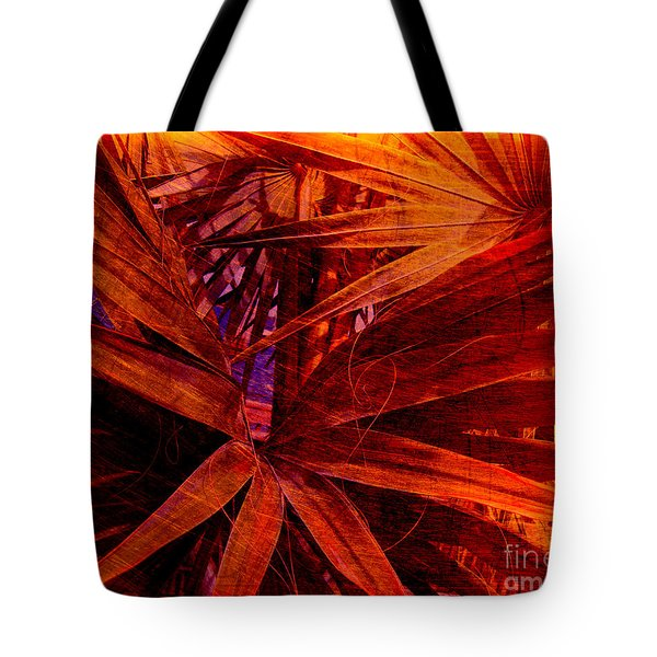 Fiery Palm Tote Bag by Susanne Van Hulst
