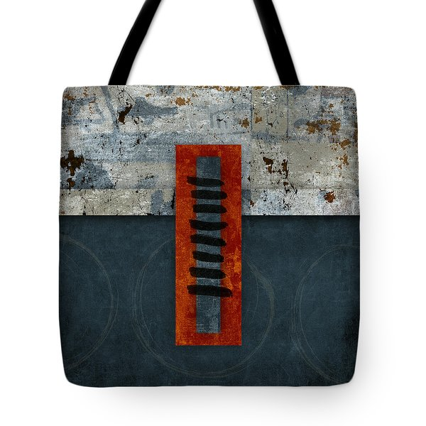 Fiery Red And Indigo One Of Two Tote Bag by Carol Leigh