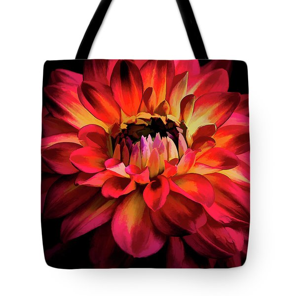Tote Bag featuring the photograph Fiery Red Dahlia by Julie Palencia