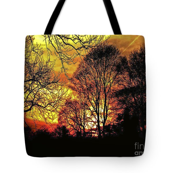 Fiery Red Sunset Tote Bag by Carol F Austin