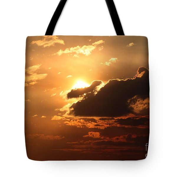 Tote Bag featuring the photograph Fiery Sun by Erica Hanel