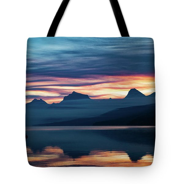 Tote Bag featuring the photograph Fiery Sunrise At Mcdonald Lake, Gnp by Lon Dittrick