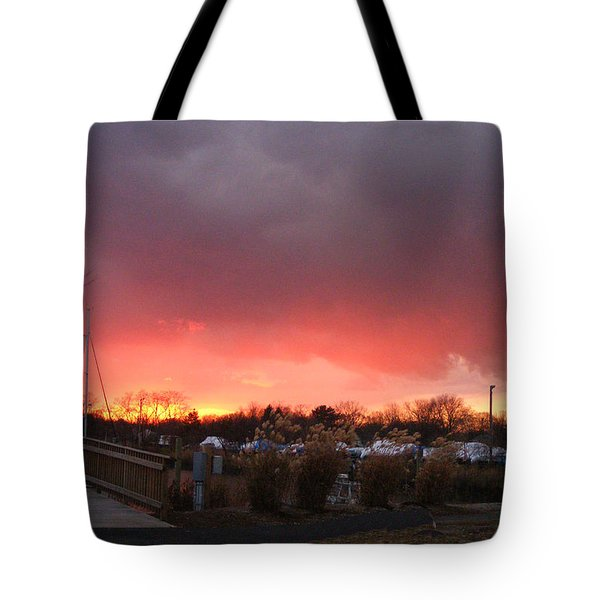 Fiery Sunset At The Marina Tote Bag
