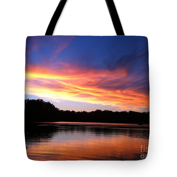 Fiery Sunset Tote Bag by Jason Nicholas