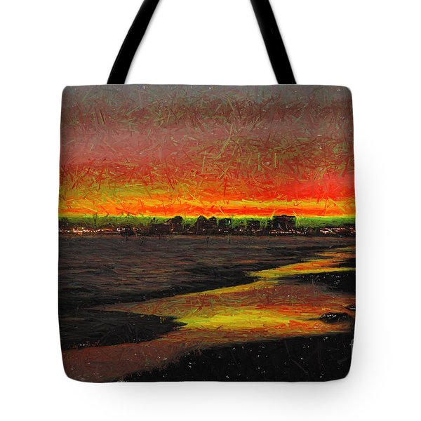 Tote Bag featuring the digital art Fiery Sunset by Mariola Bitner