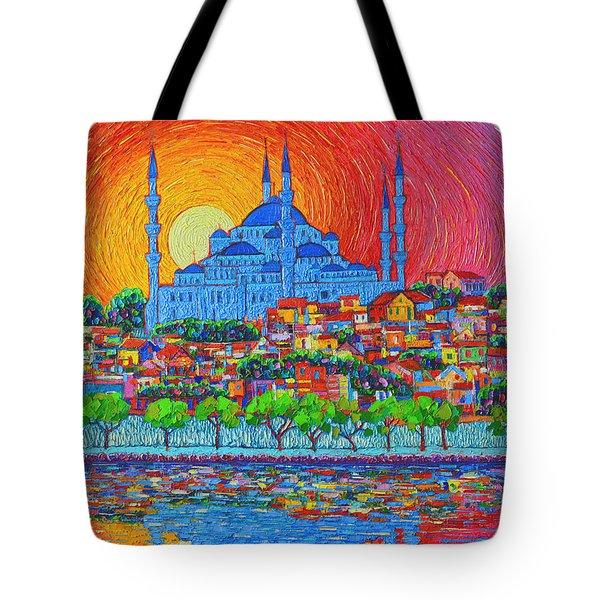 Fiery Sunset Over Blue Mosque Hagia Sophia In Istanbul Turkey Tote Bag by Ana Maria Edulescu