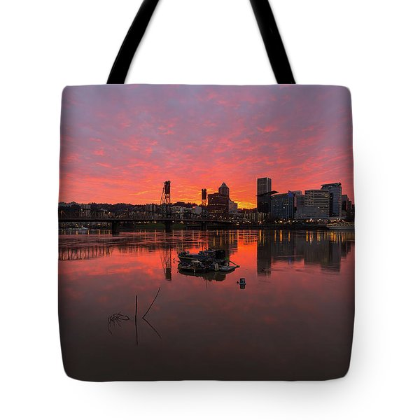 Fiery Sunset Over Portland Skyline Tote Bag by David Gn
